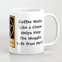 pagan Mugs featuring Coffee Works like a Charm! Pagan Wiccan Cup Mug by Cheeky Witch