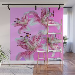 PURPLE & PINK ASIAN LILIES ART Wall Mural