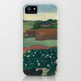 Haystacks in Brittany Oil Painting by Paul Gauguin iPhone Case
