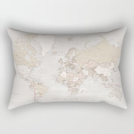 "The world is yours to explore, rustic world map with cities, ""Lucille"" Rectangular Pillow"