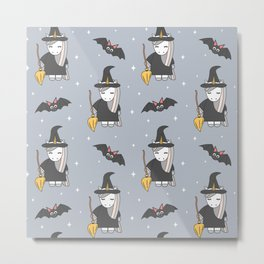 cute cartoon unicorn witch with broom and bats halloween pattern Metal Print