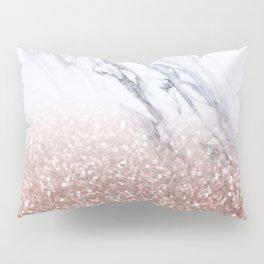 Rose Gold Glitter Marble Pillow Sham
