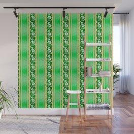 Green Hibiscus Honu Stripes Wall Mural