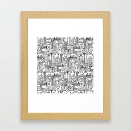 Seattle black white Framed Art Print