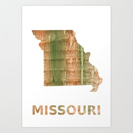 Missouri map outline Brown green blurred watercolor texture Art Print