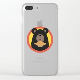 Grizzly with cake in circle Clear iPhone Case
