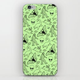 Cryptid Pattern: Black on Green iPhone Skin