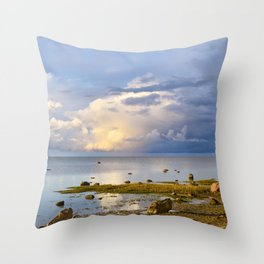 Sunset sea evening seascape Throw Pillow