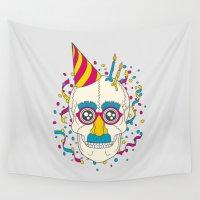 birthday Wall Tapestries featuring Happy Birthday by John Tibbott