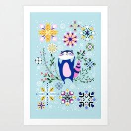 Happy Raccoon Card Art Print