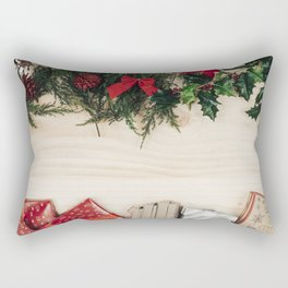 Christmas New Year 2018 Christmas decorations gifts wooden background Rectangular Pillow