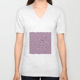 Mulberry Strip - Voronoi Stripes Unisex V-Neck
