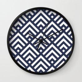 Navy Blue geometric art deco diamond pattern Wall Clock