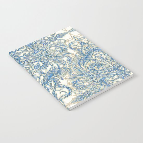 Blue & Tan Art Nouveau Pattern Notebook