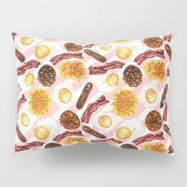 American Diner Breakfast on Red Pillow Sham
