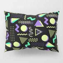 Geometrical retro lime green neon purple 80's abstract pattern Pillow Sham
