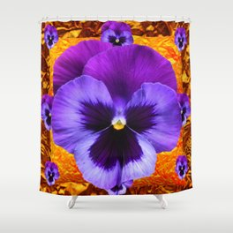 PURPLE COLORED SPRING PANSY DESIGN Shower Curtain