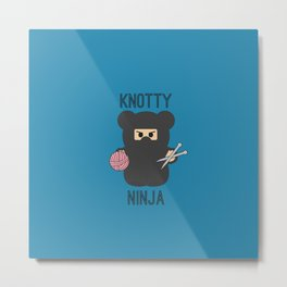 Knotty Knitting Ninja Metal Print