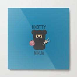 Knotty Knitting Ninja Metal Print