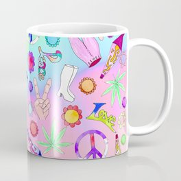 Psychedelic 70s Groovy Collage Pattern Coffee Mug