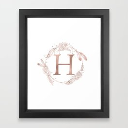 Letter H Rose Gold Pink Initial Monogram Framed Art Print