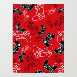 Video Games Red Poster