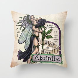 Black Rose Absinthe by Bobbie Berendson W Throw Pillow