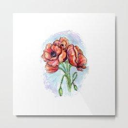 Poppy Flowers Sketch Metal Print