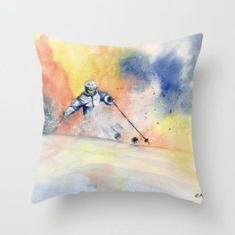 Colorful Skiing Art 2 Throw Pillow