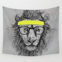 lion Wall Tapestries featuring hipster lion by Balazs Solti