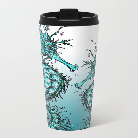 Cyan Seahorse Metal Travel Mug
