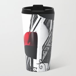 building with porch and red awning in the city Travel Mug