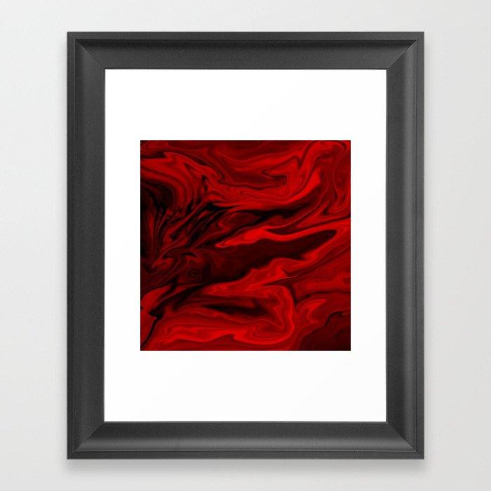 Blood Red Marble Gerahmter Kunstdruck