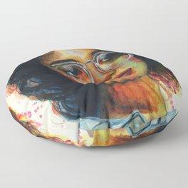 Girl in glasses Floor Pillow