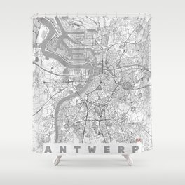 Antwerp Map Line Shower Curtain