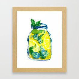 Watercolor - Iced Lemon Mint Tea Framed Art Print