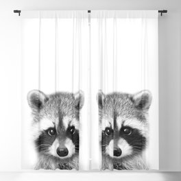 Baby Raccoon Black & White, Baby Animals Art Print by Synplus Blackout Curtain