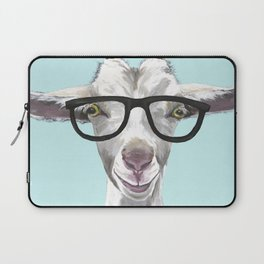 Goat with Glasses, Cute Farm Animal Laptop Sleeve