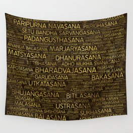 Gold Yoga Asanas / Poses Sanskrit Word Art Wall Tapestry
