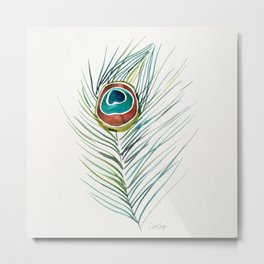 Peacock Tail Feather – Watercolor Metal Print