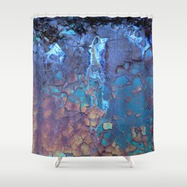 Waterfall. Rustic & crumby paint. Shower Curtain