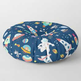 Outer Space Astronauts Aliens Pattern Blue Floor Pillow