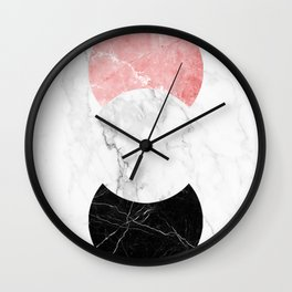 Marble Print With Geometric Forms. Wall Clock