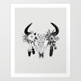 Floral bohemian watercolor animal stag head skull peach pink spiritual boho home wall decor Art Print