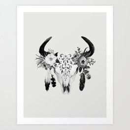 Floral bohemian watercolor animal stag head skull peach pink spiritual boho home wall decor Art Print