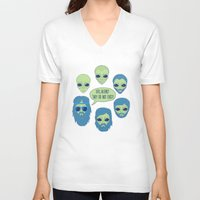 aliens V-neck T-shirts featuring aliens by gotoup
