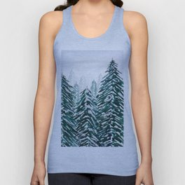 snowy pine forest in green Unisex Tank Top
