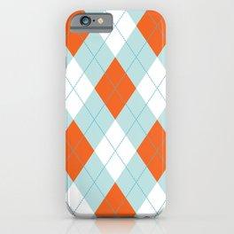 Aqua, Mint and Coral Orange Argyle Pattern iPhone Case