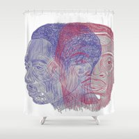 tupac Shower Curtains featuring You Got the Juice Now, Kid by Dazed N Amused