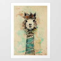 lama Art Prints featuring Lama by Anastasia Tayurskaya